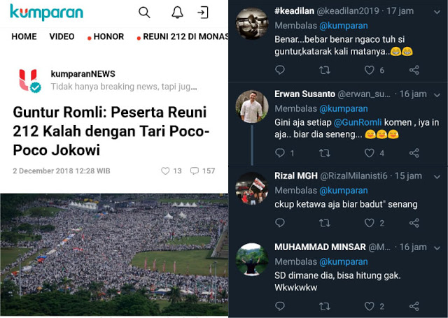 Kata Guntur Romli: Peserta Reuni 212 Kalah dengan Tari Poco-Poco Jokowi; Warganet Ngakak
