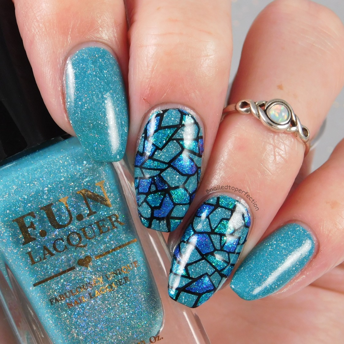 B nailed to perfection 26 great nail art ideas your signature style so for my signature style i went with blues and reverse stamping what other colour would i go with the base colour is magic stone from fun lacquer and prinsesfo Choice Image