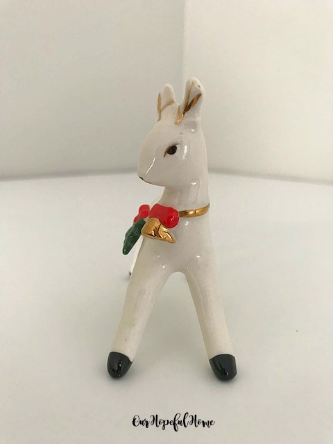 Inarco porcelain Christmas reindeer holly gold bell