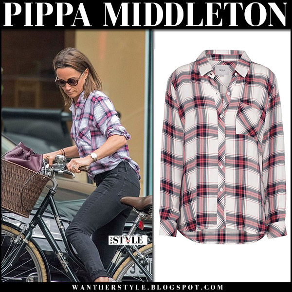Pippa Middleton in red plaid rails shirt and jeans riding her bike september 12 2017 street fashion