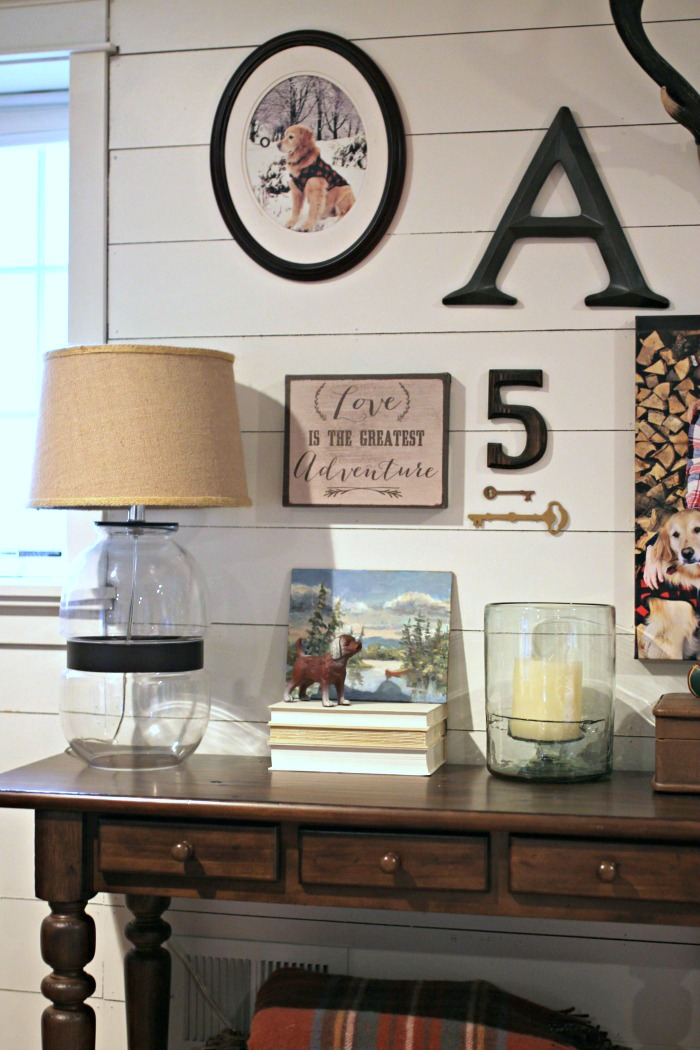 Tivoli console table from Pottery Barn with glass Target lamp - www.goldenboysandme.com