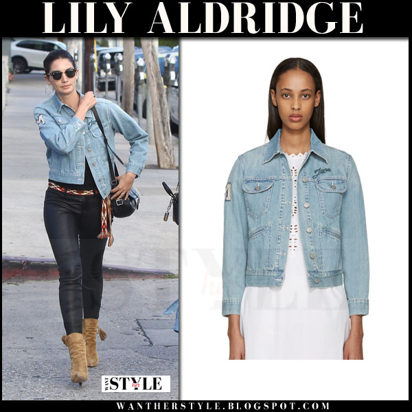 Lily Aldridge in light blue denim isabel marant purd jacket and black pants what she wore model style