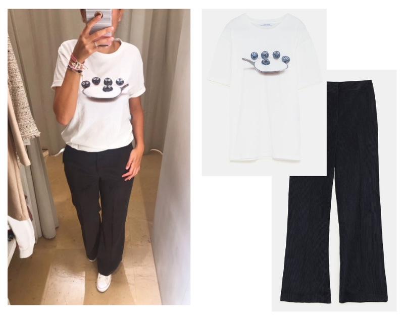 outfit zara nueva colección otoño camiseta blanca monstruo de las galletas pantalon pana gruesa azul sneakers converse blancas.jpg
