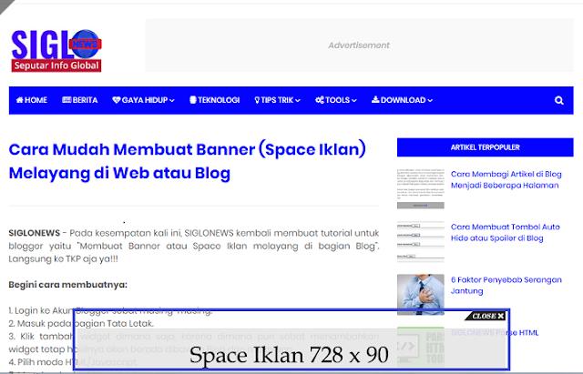 Membuat Banner atau Space Iklan melayang di bagian Blog