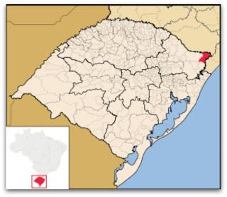 Cidade de São José dos Ausentes, no mapa do Rio Grande do Sul
