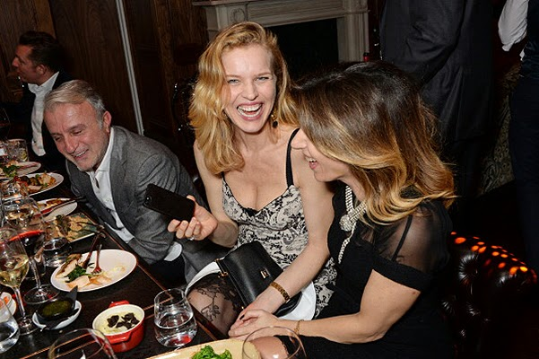 Eva Herzigova and Uma Thurman at the birthday Giorgio Veroni