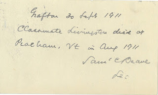 "Postcard reporting death of ""Clasmate Livingston"""