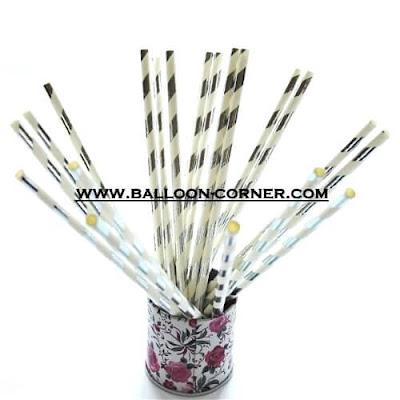 Silver Spiral Paper Straws / Sedotan Kertas Motif Spiral Silver