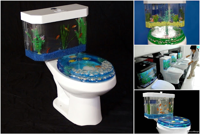 Fantastic Aquarium Design on Toilet Tank