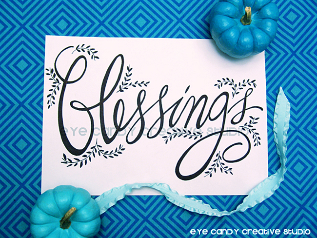 blessings art print,, hand lettered thanksgiving art, hand lettering, blue