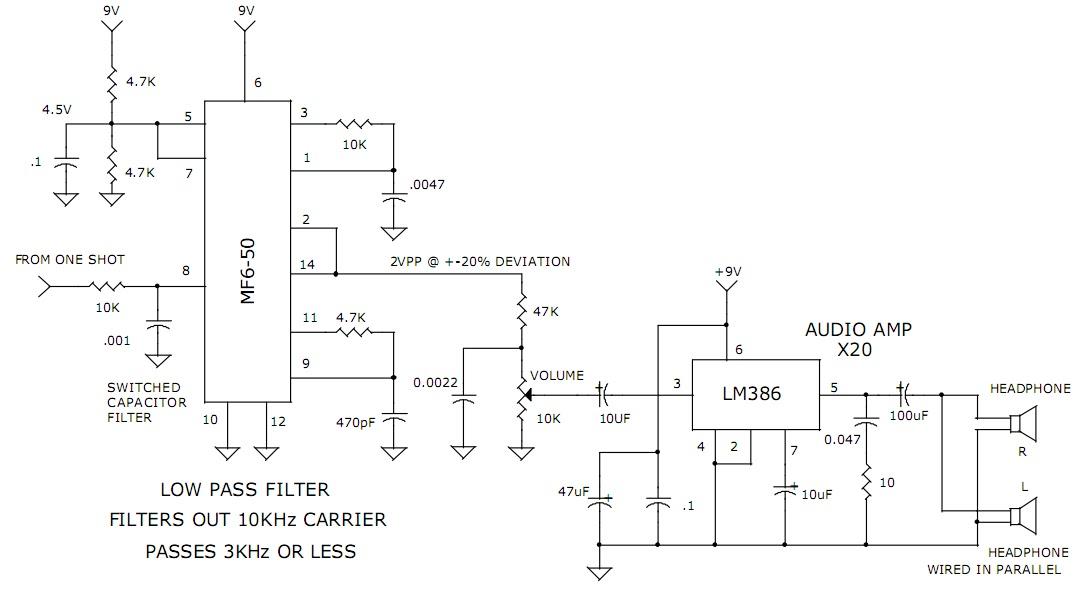 3khz Low Pass Filter And Audio Amplifier Circuit Diagram