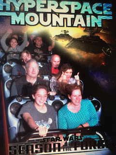 Gena, Mike, Jamie and Mark on the HyperSpace Mountain ride