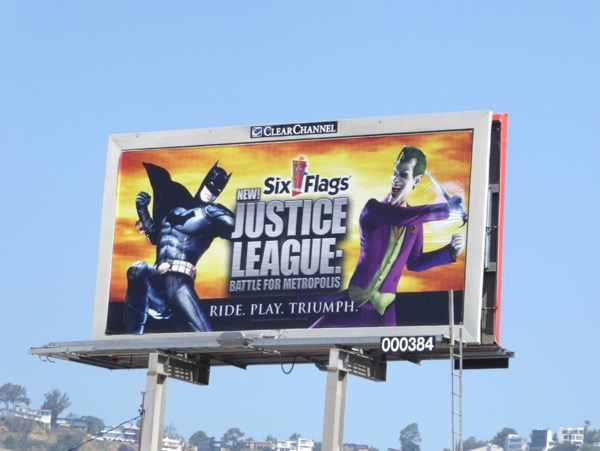 Six flags Justice League ride billboard