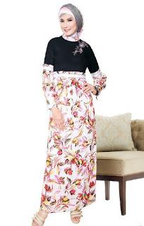 Gambar Baju Gamis Batik Kombinasi Polos