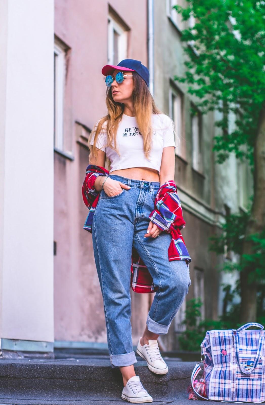 vintage jeans and crop top