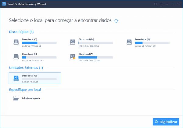 Executar o software de recuperação de pen drive