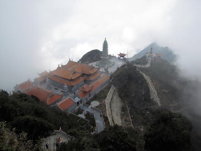 aerial view fanispan temple sapa vietnam