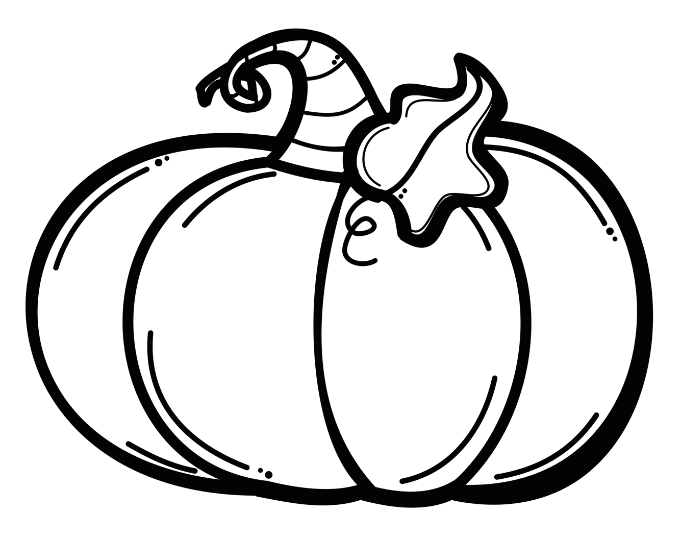 Cartoon of a Black and White Outlined Pumpkin - Royalty ... |Pumpkin Clipart Black And White Carson