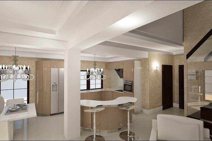 Design interior - bucatarie - cu living - casa - moderna
