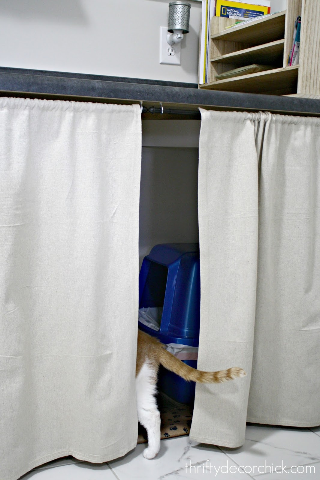 DIY skirt under table to hide litter boxes