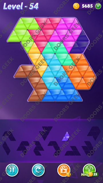 Block! Triangle Puzzle Master Level 54 Solution, Cheats, Walkthrough for Android, iPhone, iPad and iPod