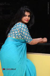 Telugu Actress Alekhya Stills in Green Saree at Swachh Hyderabad Cricket Press Meet  0062.JPG