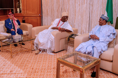 President Buhari Receives Ooni of Ife in Aso Rock (Photos)