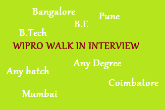 Wipro careers: The Walk-in interview is going to be conducted for B.E, B.Tech, Any degree graduates on 20 January 2018 at Bangalore, Coimbatore, Pune, ...