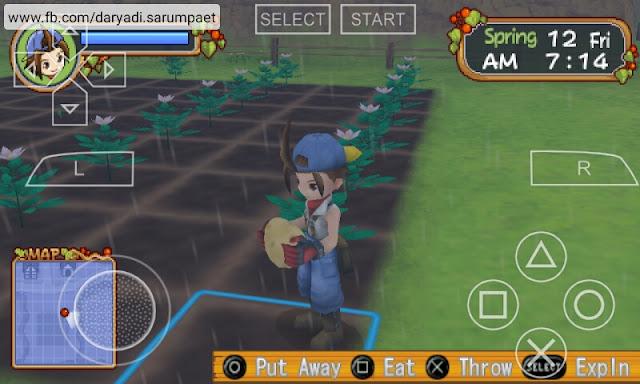 harvest moon hero of leaf valley psp game harvesting crops