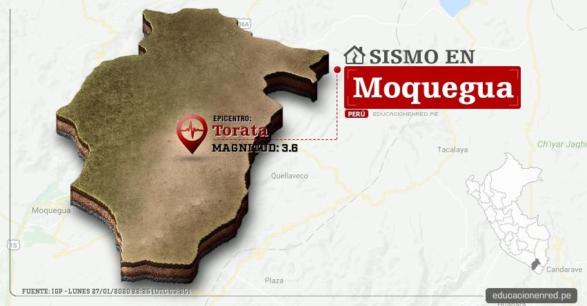 Temblor en Moquegua de Magnitud 3.6 (Hoy Lunes 27 Enero 2020) Sismo - Epicentro - Torata - Mariscal Nieto - IGP - www.igp.gob.pe