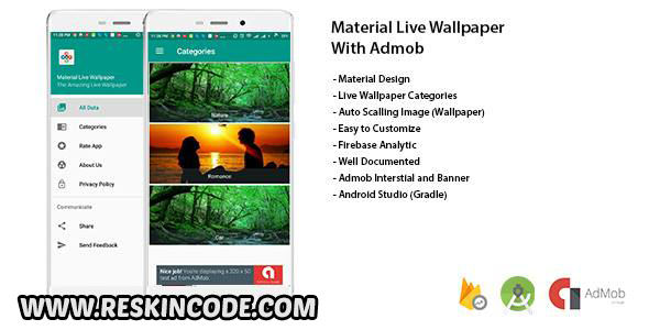 Material Live Wallpaper With Admob and Admin Panel