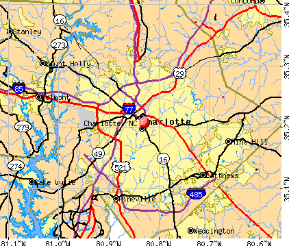 maps of dallas: Map of Charlotte NC