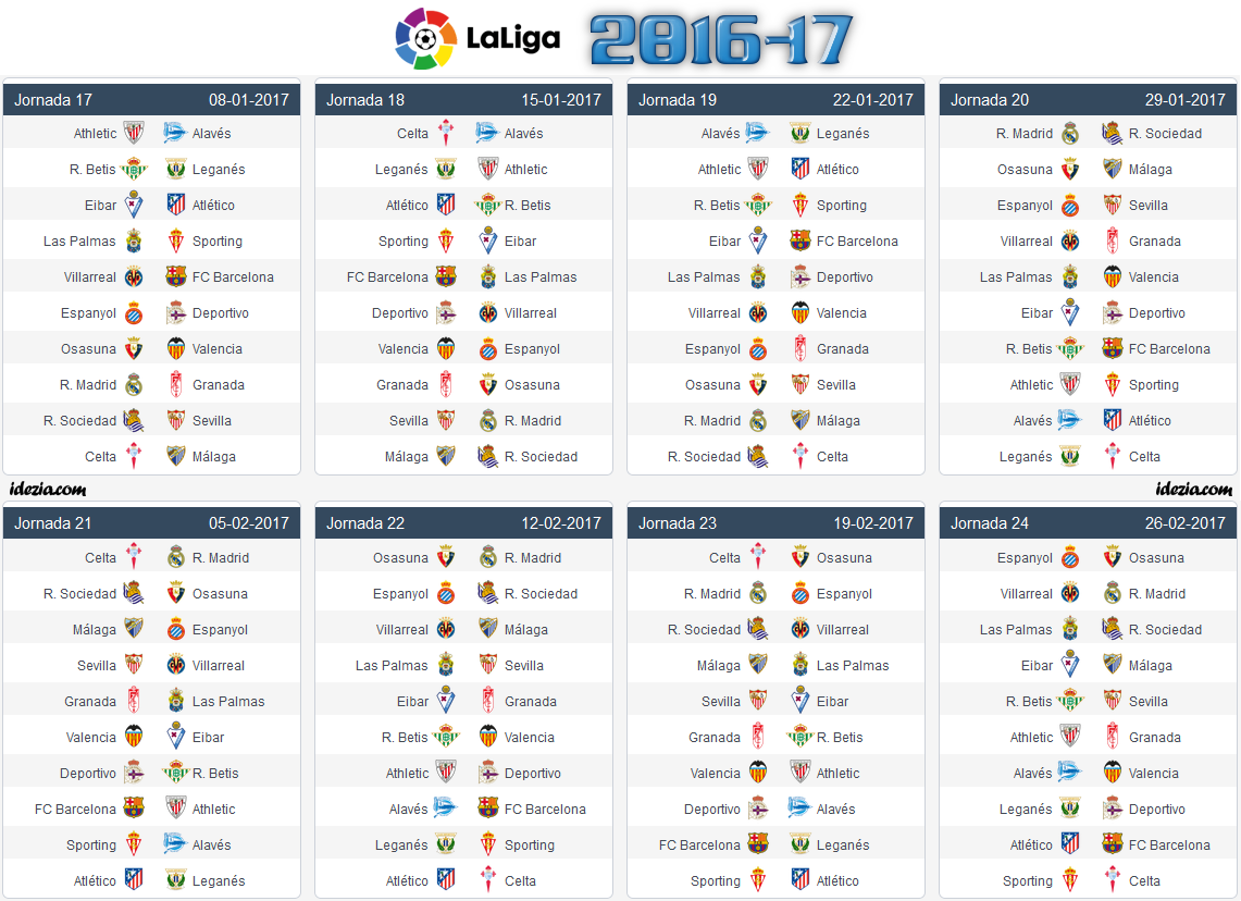 Spanish la liga 2017 18 fixtures full schedule pdf with - Spain league table and fixtures ...