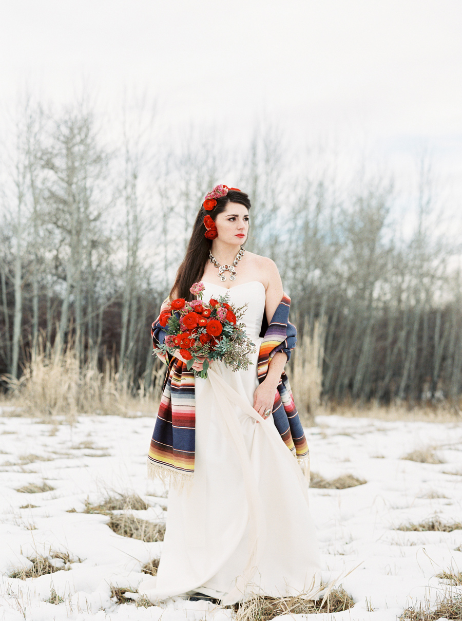 Frida Kahlo Wedding Inspiration / Photography: Orange Photographie / Styling & Flowers: Katalin Green / Hair & Makeup: Alexa Mae / Dress: Coren Moore / Hat & Serape: Vintage / Necklace & Ring: Mountainside Designs / Location: Bozeman, MT