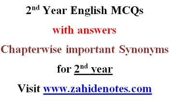 2nd year English Objective MCQs with Answers - Zahid Notes