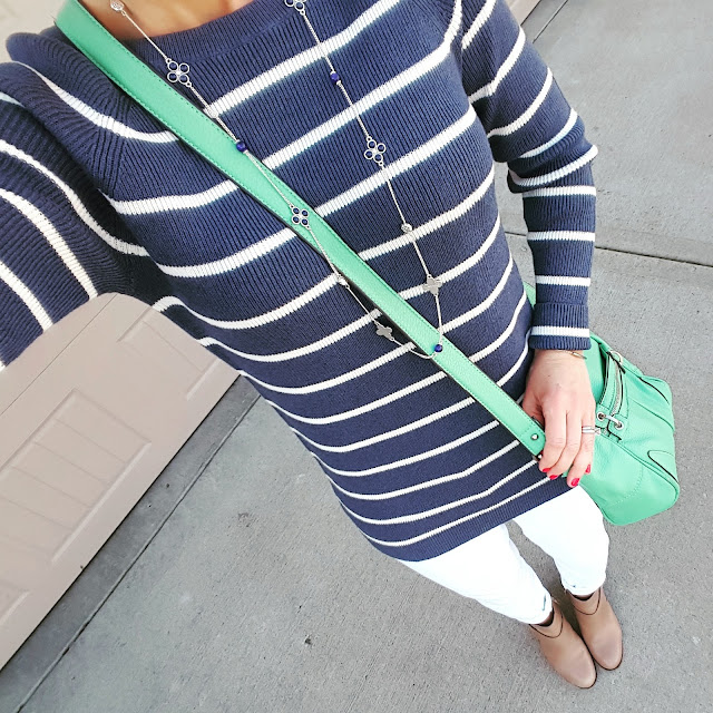 Banana Republic Factory Sweater // Gap Factory Jeans (similar - on sale for $28) // Cole Haan Calixta Booties // Jessica Simpson Crossbody Bag (similar - LOVE this one for under $30) // ILY Couture Bracelet // Old Navy Necklace (similar)