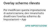 """Risolvere Errore """"Overlay schermo rilevato"""" su Android"""