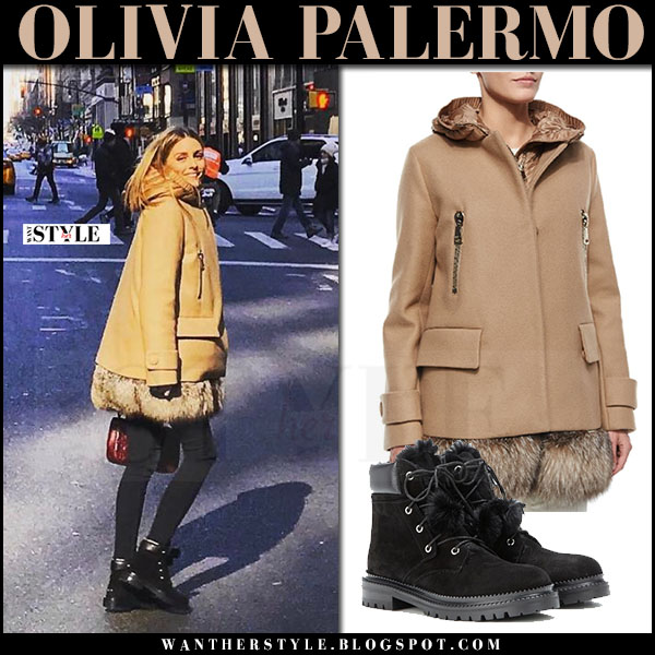 Olivia Palermo in camel fur hem moncler fenelon coat, black jeans and black lace up ankle boots jimmy choo elba what she wore winter style