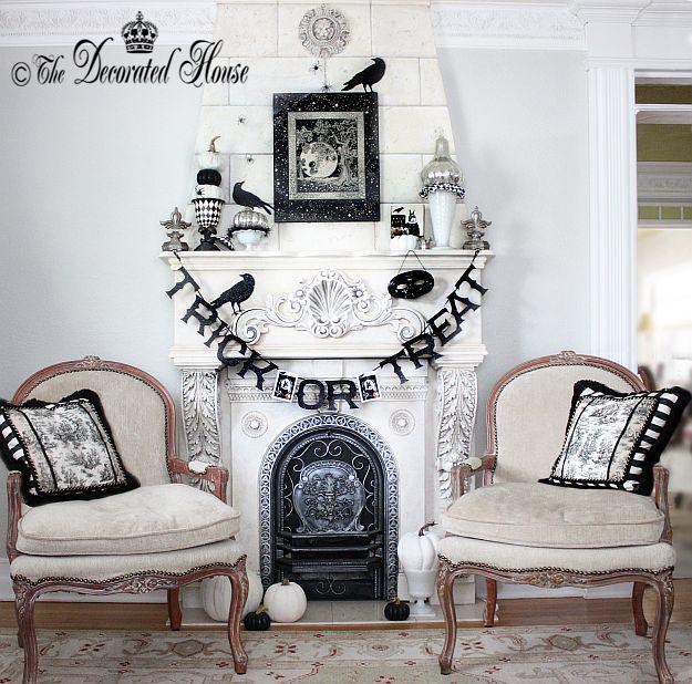 Elegant Black and White Mantel Decorating Ideas | The Decorated House