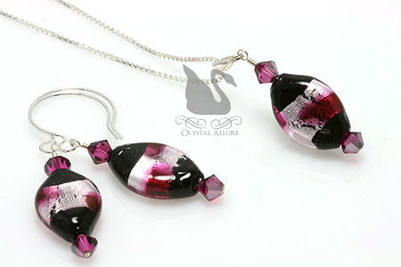 Fuchsia Venetian Crystal Beaded Pendant Set (P09)