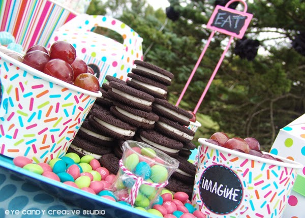 Oreos, grapes, candy, art party picnic food ideas, kids art party