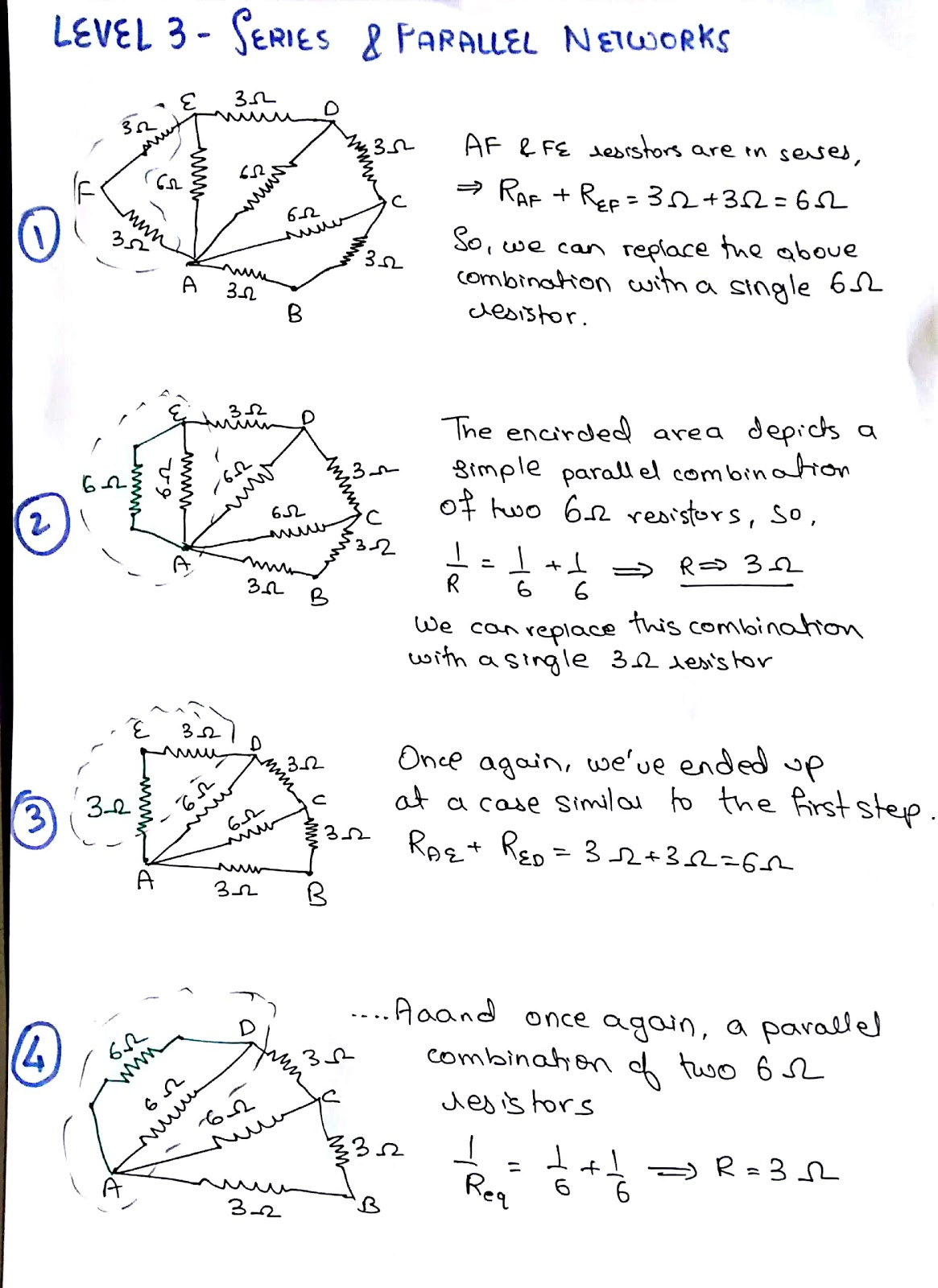 Another Level 3 Question Series Parallel Network Resistors In And If You Solved The Above Ended Up With 2 Ohms As Resistance Between Points A B Congrats Youve Nailed It Not No Worries