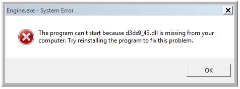 حل مشكلة عدم تشغيل لعبة بيس PES 2017 ورسائل الخطأ d3dx9_43.dll ورسالة xinput1_3.dll  D3dx9_43.dll_2