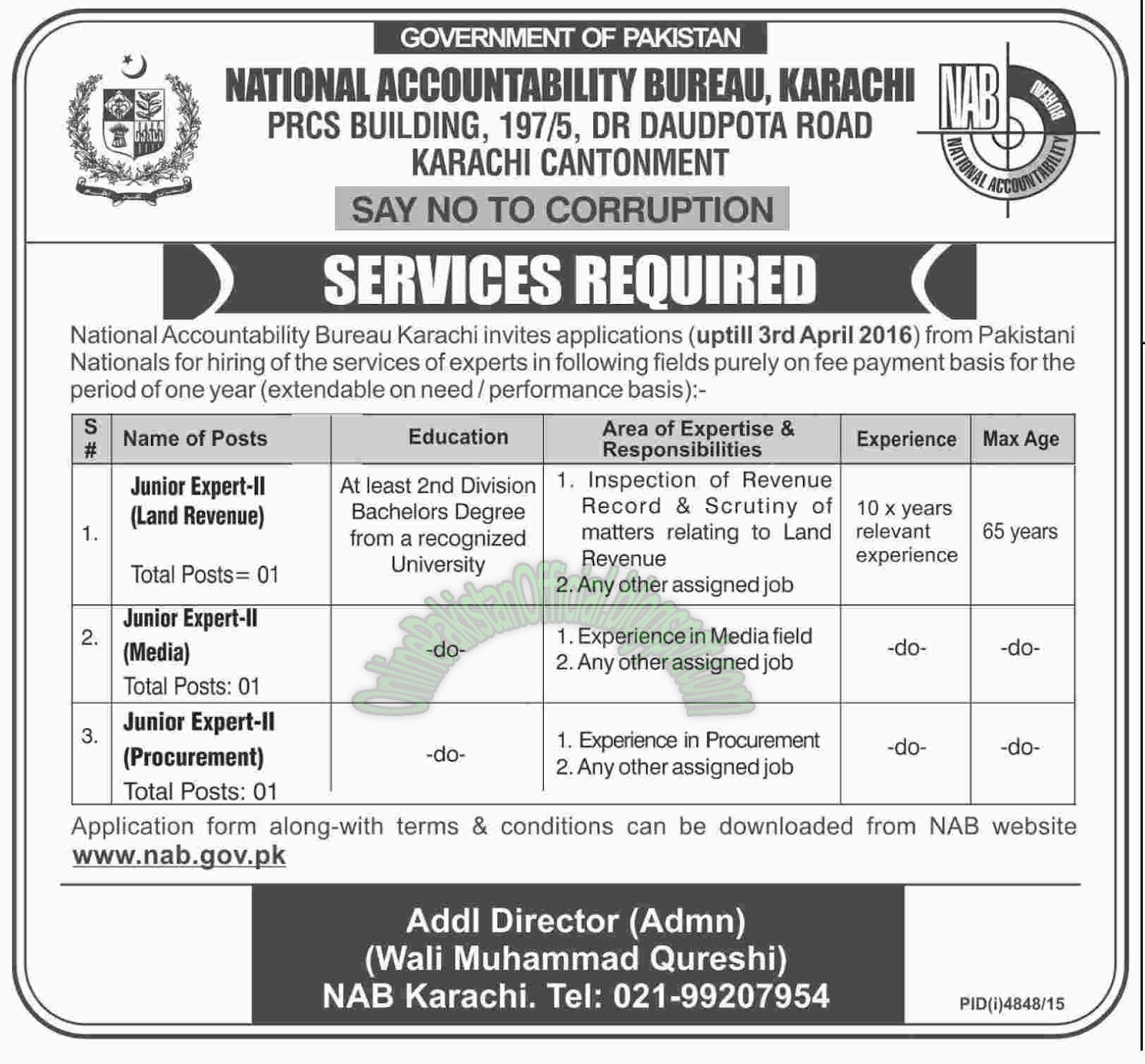 National Accountability Bureau, Karachi Latest Jobs 2016