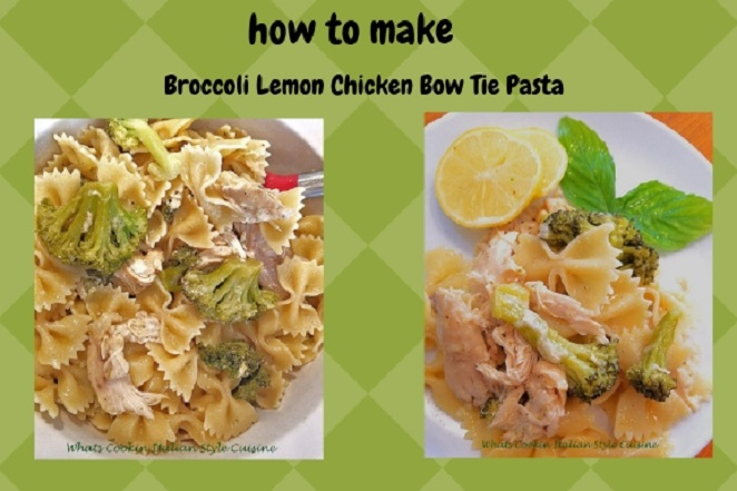 This is a bow tie pasta with lemon sauce, broccoli and chicken on top