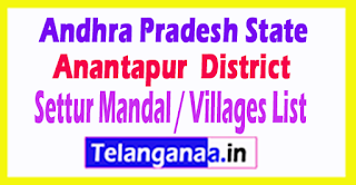 Settur Mandal Villages Codes Anantapur District Andhra Pradesh State India