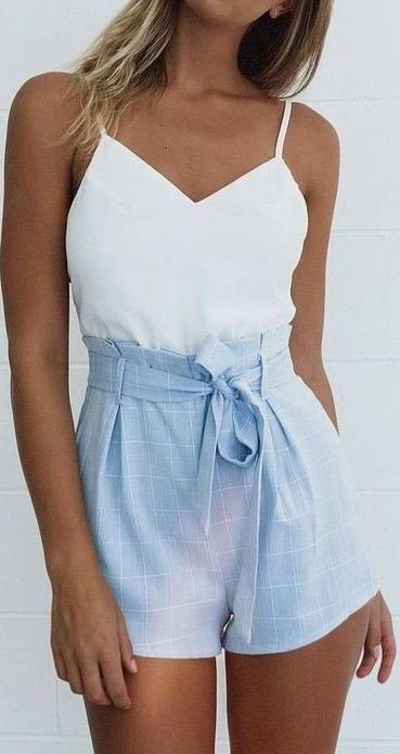 pastel summer outfit: top + shorts