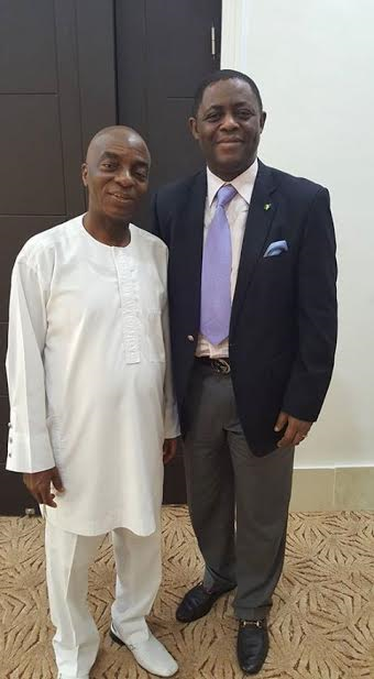 Femi Fani-Kayode pays a courtesy visit to Bishop David Oyedepo