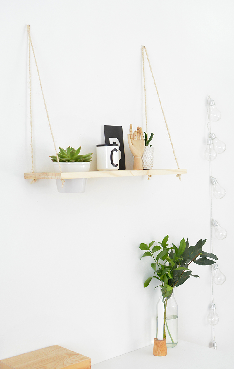 how to make a hanging shelf with plant