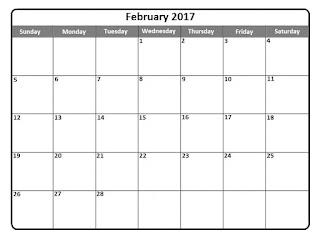 Free calendar, Printable Calendar 2017, February Calendar 2017, Printable Calendar February 2017